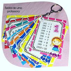 Tabuada para imprimir - Chaveiro Multiplication Of Integers, Teaching Multiplication, First Grade Math Worksheets, 3rd Grade Math, Teacher Supplies, Teacher Hacks, Toddler School, Simple Math, Math For Kids