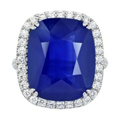 Ceylon 21.19ct Ceylon Sapphire and Diamond Ring | From a unique collection of vintage cluster rings at http://www.1stdibs.com/jewelry/rings/cluster-rings/