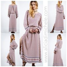"""Loving the boho vibe to this dress! It's sooo pretty for Spring but wear it now with the Mila suede boot in khaki! It's got a self-cinch waist so you can make it as tight or loose as you want!  SEARCH: Charlee Maxi Dress SHOP: http://ift.tt/1rNgIir USE: code """"FREESHIP"""" at checkout  #aliciadimicheleboutique #ADboutique #ADGirlGang #adgirllove #ADgirlpower #newarrivals #justin #whatstrending #bohostyle #boho #bohochic #printeddress"""
