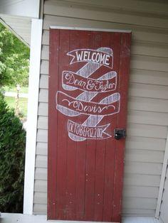 Hand Painted Wedding Welcome Sign on Rustic Barn Door