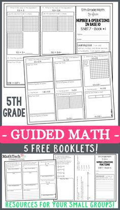Free 5th Grade Guided Math Resources! WAYS TO USE: * Introduce a specific standard whole group * Use in small group to practice/reteach a specific standard * Place in an independent math workshop center * Use the 3rd tri-fold as an ASSESSMENT!