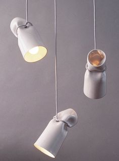 """Strangled Lights"" are ceramic pendant lights by Gitta Gschwendtner Ceramic Light, Ceramic Pendant, Interior Lighting, Lighting Design, Ceramic Pottery, Ceramic Art, Ceramic Birds, Luminaria Diy, Blitz Design"