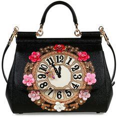 Dolce & Gabbana Miss Sicily Medium Leather Clock Satchel Bag ($3,880) ❤ liked on Polyvore featuring bags, handbags, black multi, leather satchel purse, genuine leather handbags, leather flower purse, satchel handbags and pocket purse