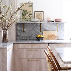 Natural wood + marble kitchen