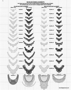 Vector Fabric Swatches & Fashion Embellishments - Vector Lace Neckline Appliques / Embellishments