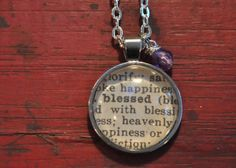 Vintage Dictionary Word Necklace Pendant BLESSED by www.kraftykash.net $23.00 #etsy #handmade