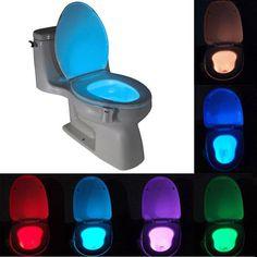 센서 화장실 빛 8 색 led 배터리 운영 램프 lamparas 인간의 motion 활성화 pir 자동 rgb 화장실 야간