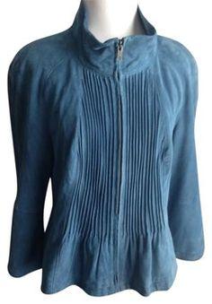 Worth Steel Blue Leather Jacket