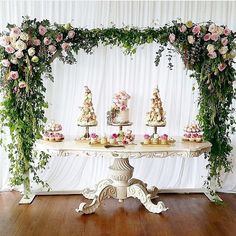 Beautiful dessert table styling #wedding #kitchentea #dessert #desserttable #dessertstation #cake #weddingcake #cupcakes #sweettreat #sweet #styling #eventstyling #engagement #party #bridal #yummy #foodporn
