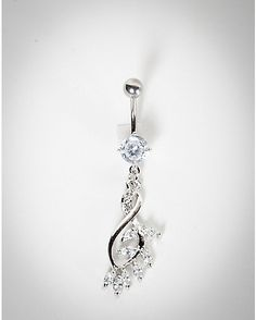 Leaf CZ Swirl Dangle Belly Ring – 14 Gauge – Spencer's - Top-Trends Belly Button Piercing Jewelry, Bellybutton Piercings, Piercing Ring, Body Piercings, Cute Belly Rings, Dangle Belly Rings, Belly Button Rings, Jewelry Tags, Body Jewelry