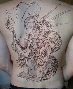 HR Giger inspired tattoo