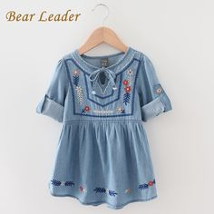 US $13.09 Bear Leader Autumn Grils Dress 2016 New Casual Style Denim Dress for Kids Clothes Floral Embroidery Design for Girls Dresses aliexpress.com Fashion Design For Kids, Kids Fashion, Embroidery Dress, Floral Embroidery, Floral Denim, Girls Dresses, Summer Dresses, Girl Falling, Little Princess
