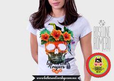 Playera Calavera Tropics peso completo cuello redondo manga corta para mujer. de bakasonlineshop en Etsy