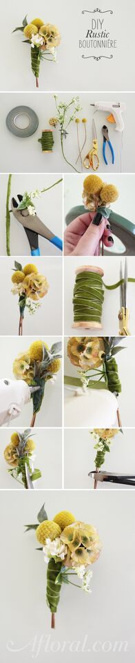 Save money on your wedding by making your very own boutonnière with silk and preserved flowers from Afloral.com.  This bout features scabiosa, billy buttons and adorable flocked leaves.  Wrap it is velvet or rustic jute cord to finish it off and you have a one-of-a-kind boutonnière.