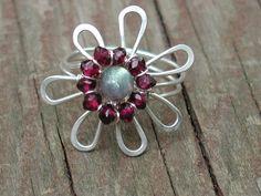 Wire Daisy Garnet Ring