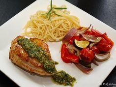 Sitronkylling med pesto og ovnsbakte middelhavsgrønnsaker - TRINEs MATBLOGG