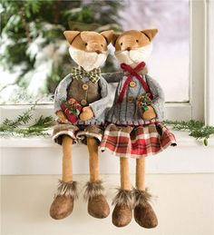 Main image for Fox Couple Holiday Posable Figures, Set of 2