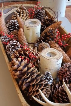 Vintage dough bowl filled with natural elements| Christmas decor