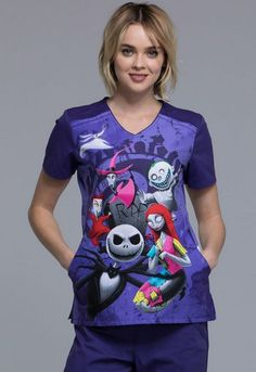 e613fab77ee Shop the latest collection of Tooniforms Cherokee Women's V-Neck Nightmare  Before Christmas R. Print Scrub Top from the most popular stores - all in  one ...