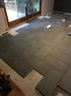 slate tile floor MSI Montauk Black 12 in. x 24 in. Gauged Slate Floor and Wall Tile sq. / case) - - The Home Depot Entryway Flooring, Slate Flooring, Basement Flooring, Bathroom Flooring, Tile Entryway, Entry Tile, Best Kitchen Flooring, Tile Kitchen Floors, Dark Tile Floors