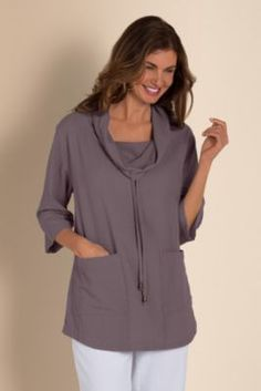 Use Kwiksew 3718.    Gypsy Gauze Pullover - Womens Gauze Pullover, Gauze Pullover Top, Gauze Sweater Top | Soft Surroundings