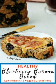 This easy and healthy recipe for Blueberry Banana Bread just might be the best banana bread you'll ever make. It's soft and moist, but full of delicious flavors and pops of blueberries. It's also gluten free, egg free, and vegan friendly. Blueberry Banana Bread, Gluten Free Blueberry, Healthy Banana Bread, Best Banana Bread, Healthy Fruit Desserts, Banana Dessert Recipes, Diet Desserts, Healthy Snacks, Dessert Blog
