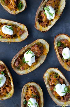 Chorizo and Cheddar Potato Skins | Potato skins are a food you might bypass making at home, especially given their more famous sister spud—the rich and creamy twice-baked potato. But if crispy, crunchy, and oozing with chorizo and cheese is your thing, then look no further than these no-fuss skins as your new go-to appetizer or anytime snack. | From: justataste.com