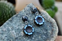 Flower Earrings, Czech Hawaiian Flowers with Snowflake Obsidian, Handmade Jewelry, Gift Ideas for Her from The Hidden Meadow by TheHiddenMeadow on Etsy