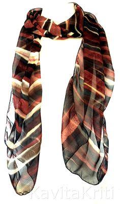Handpainted silk chiffon scarf Fall fashion scarf Fall color scarf Brown Stripes by KavitaKriti  https://www.etsy.com/listing/204446220/fall-fashion-scarf-fall-color-scarf?ref=related-0