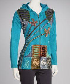 Look what I found on #zulily! Turquoise Sea Zip-Up Hoodie - Women #zulilyfinds