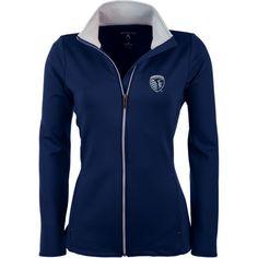 Antigua Women's Sporting Kansas City Navy (Blue) Leader Full-Zip Jacket, Size: Medium