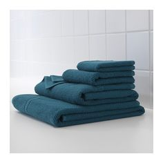 IKEA - FRÄJEN, Bath sheet, The long, fine fibers of combed cotton create a soft and durable towel.A terry towel in medium thickness that is soft and highly absorbent (weight 500 g& Blue Bathroom Vanity, Small Bathroom Vanities, Small Bathroom Storage, Bathroom Organization, Blue Bathrooms, Teal Bath Towels, Hand Towels, Basement Furniture, Vanities
