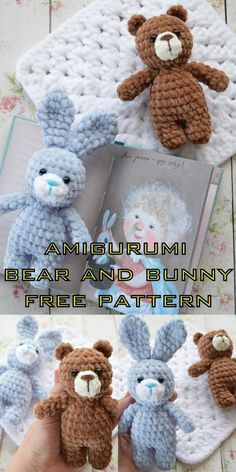 Amigurumi bear and bunny free crochet pattern, This article is waiting for you. We always keep you up to date with the most current amigurumi organic knitting toy patterns Crochet Teddy Bear Pattern, Crochet Amigurumi Free Patterns, Crochet Animal Patterns, Crochet Dolls, Crochet Baby, Free Crochet, Knitting Patterns, Knitting Projects, Loom Knitting