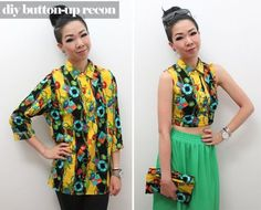 Syl and Sam: tutorial - button-up recon blouse. Cute matching clutch bag!