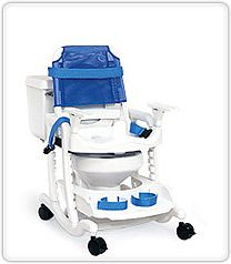 Features of the Blue Wave mobile commode and shower chair hygiene system A versatile, highly adaptable mobile shower and commode chair, the Rifton Blue Wave toileting system was designed to give children and adults with physical disabilities from 30-72 tall the opportunity for more stress-free and dignified hygiene care.