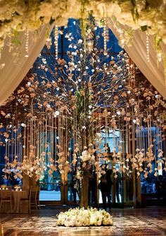 Escort card tree, indoor reception, over-the-top, unknown designer/photographer