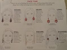 Earring shapes and sizes matching face shape