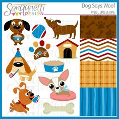 Sanqunetti Design: Dog Says Woof Clipart
