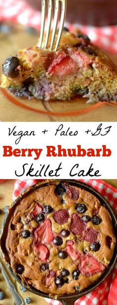 Strawberry Rhubarb Skillet Cake is an easy and wholesome dessert, breakfast or snack made with real ingredients! Paleo, vegan, grain-free and gluten-free!
