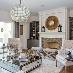 White Fireplace Mantle with Gray Built Ins