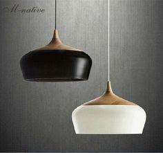 Wood lamp Modern pendant light Wood and aluminum lamp black white restaurant bar coffee dining room LED hanging light fixture