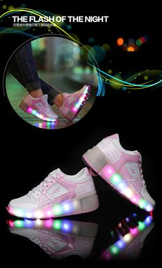 purchase cheap 8d6a3 591a2  41.5 LED Lighted Roller Shoes Wheely s Children Flashing Leisure Roller  Skates Kids Shoes with Wheel Black, Blue, Pink