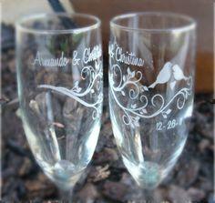 Modern Lovebirds- Engraved Wedding Glass Toasting Flutes