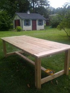 Outdoor Farmhouse Table made of Cedar   Do It Yourself Home Projects from Ana White