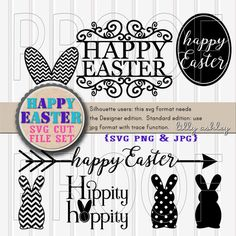Easter SVG Cut File Set of 8 Includes svg png & jpg by LillyAshley-- bunny ears, happy Easter arrow, chevron bunny, polkadot bunny, hippity hoppity, Easter flourish, etc!