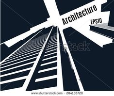 Sketch of a skyscrapers of city, perspective from under the bottom,  silhouette buildings, vector stock