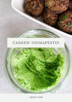 Sitruunainen cashewpesto - Vege it! Pesto, Meals, Snacks, Vegan, Ethnic Recipes, Foods, Food Food, Appetizers, Food Items