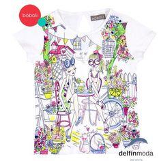 """Camiseta de manga corta BOBOLI """"chicas en jardin"""""""