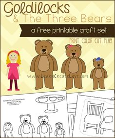 Printable Storytime Craft Puppets: Goldilocks and the Three Bears | LearnCreateLove.com