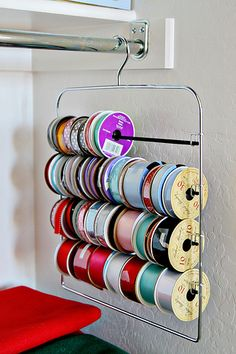 ribbon organizer... I think I like this one better than the curtain rod idea